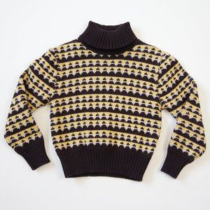 Vintage Brown and Yellow Knit Turtleneck Sweater
